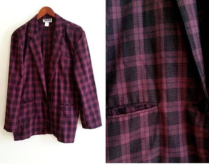 plaid sport coat purple plaid blazer men's sports coat 1960s sports coat vintage menswear purple mens suit coat 1 button size 42