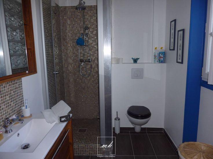 Place au thème marin dans cette salle de bain où notre #decoratrice a du repenser entièrement l'espace.
