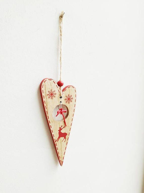 Wooden heart ornament natural wood Christmas tree heart