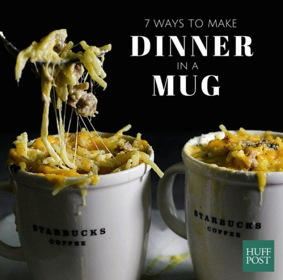 7 One-Mug Meals That Make Dinner A Cup Of Gooey Goodness {The Huffington Post}. Mmmmmm!