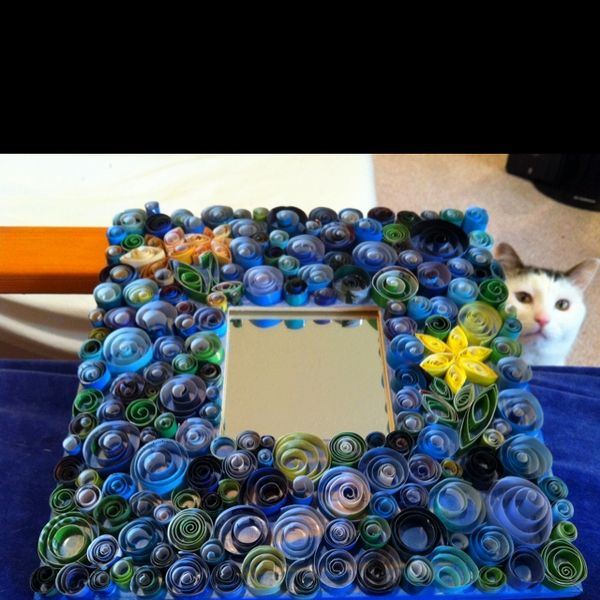 things i ve made My latest art project: Up-cycled mirror with quilling using junk mail and old magazines.