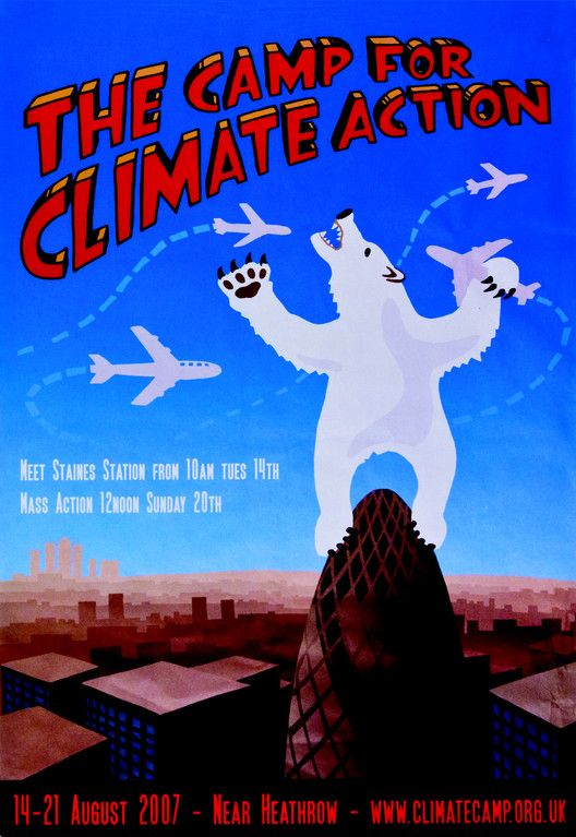 In this poster publicizing a protest at Heathrow Airport organized by the Camp for Climate Action, artist Rachel Bull depicted 30 St Mary Axe as an ambivalent climate change icon courting risks beyond its capacity to manage. Climate Camp (artist: Rachel Bull). The Camp for Climate Action, 2007. Offset lithograph poster.