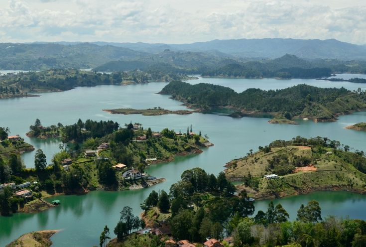 the view from El Peñol in guatape, a day trip from Medellin