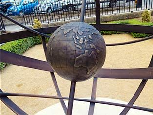 Internal globe showing the track of the historic First Fleet in 1787 that founded the penal colony that became the first European settlement in Australia. Part of a memorial sundial commissioned to commemorate the bicentenary of the death of Admiral Arthur Phillip who commanded the First Fleet