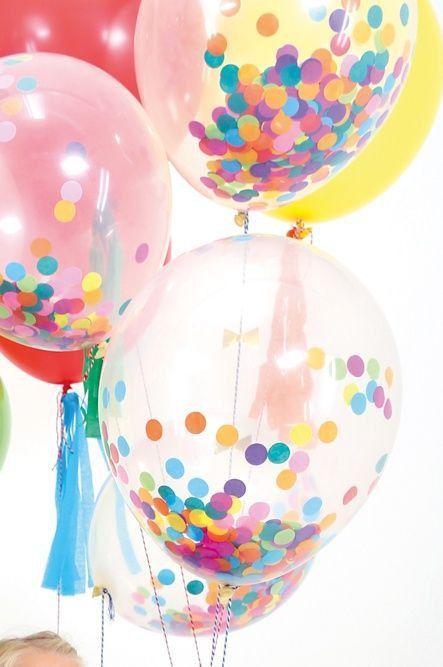 16 clair ballons avec des confettis de cercle par ThePartyPostman