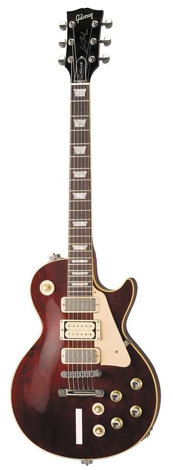 "Gibson Les Paul Deluxe in burgundy, Pete Townshend's ""Number One"", featuring two mini-humbuckers in the neck and bridge position and a third regular humbucker with exposed bobbins in between"