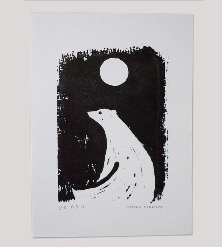 Polar Bear & Moon Art Print by samuelhorwooddesign on Etsy