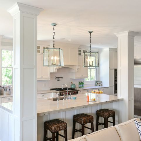 How our integrated columns may look from the back of the island. (KJ) HWC  Folly Kitchen - traditional - kitchen - charleston - by Matthew Bolt  Graphic ...
