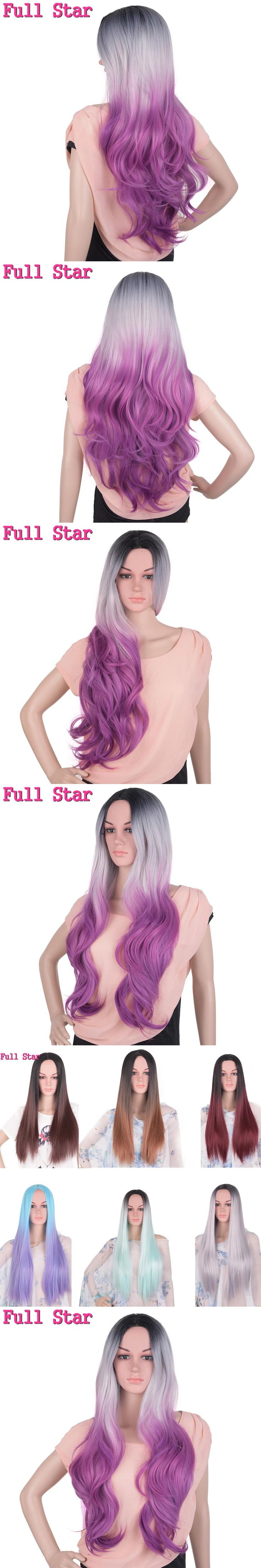 Full Star Black Grey Purple Wigs High Temperature Fiber 24 Inch 280g No Lace Full Head Nature Wave Long Ombre Synthetic Wig