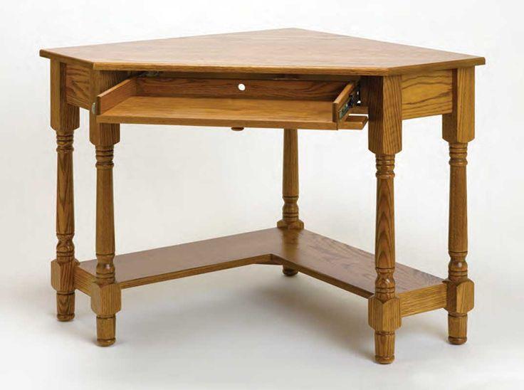 Small Corner Computer Desk   amish wooden corner desk for home office