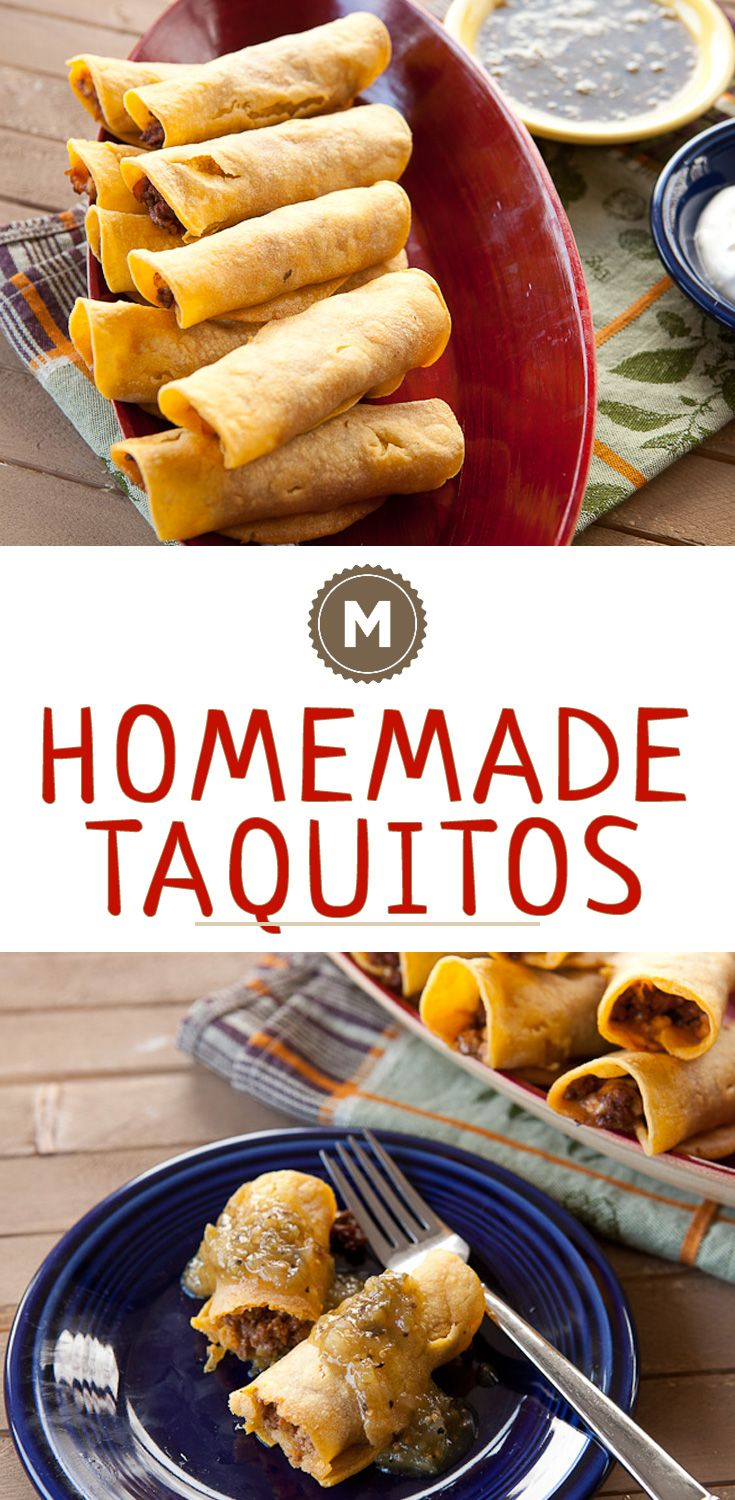 Homemade taquitos are so delicious and easy to make in big batches. You can eat them immediately or freeze them for later and reheat them in the oven!