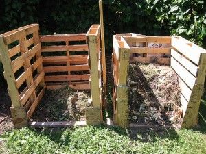 Compost bins made from common wooden pallets- this is what all the pallets from the cement bags will be made into! Woo Hoo!