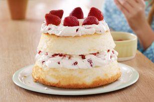 Canada Day Angel Food Cake - Strawberry & Creme Angel Cake Recipe - Kraft Canada