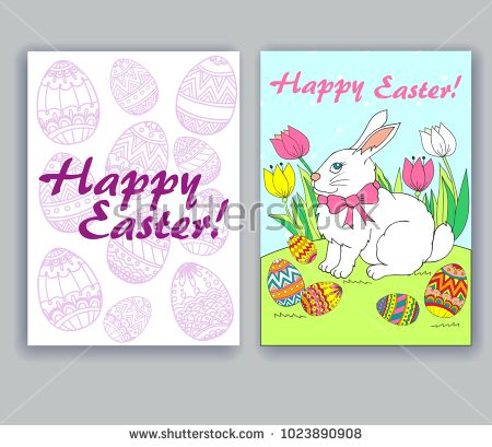 Greeting card. Bunny in flowers with Easter eggs. Different Easter eggs and the inscription Happy Easter!