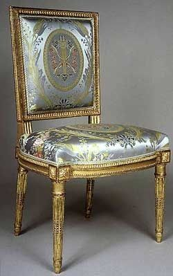 How many chairs could she sit on?: Chair from Marie Antoinette's toilette, at F. Leage. Silk on gold