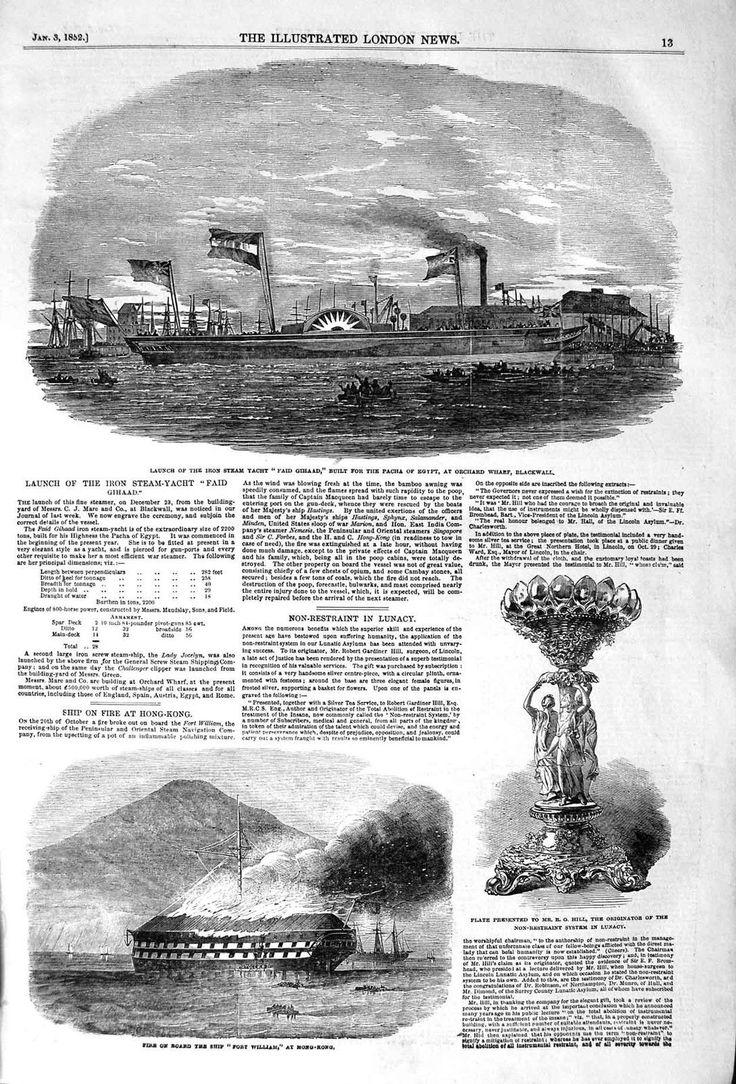 Old Antique Print 1852 Iron Ship Faid Gihaad Pacha Egypt Fort William 013P120