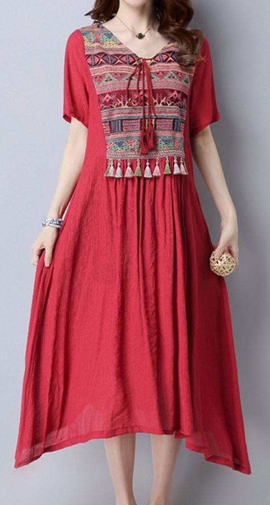 Women loose fitting over plus size ethic flower embroidered tassel dress tunic #Unbranded #dress #Casual