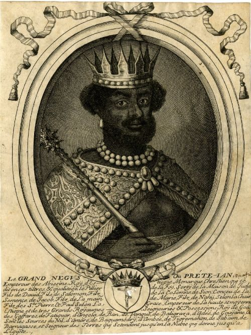"""Nicholas de Larmessin I Portrait of Emperor Yohannes French (c. 1680s) 216 x 121 mm Engraving; Print on paper Portrait of an Ethiopian Emperor: Black man bust-length, turned to the right, wearing crown, pearl necklace and embroidered cape, and holding sceptre in right hand; in oval frame with ribbon tied in the upper part, and coat of arms in the lower part. """"Emperor Yohann"""" is probably Prester John."""