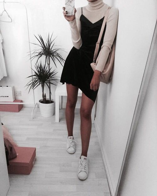 I really have to try this look! Love the turtleneck under the slinky dress pinterest: bellaxlovee ✧☾
