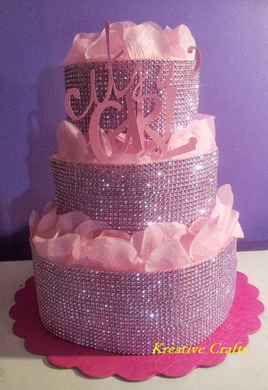 Diaper Cakes For Baby Shower Pink Diaper Cake Diamonds
