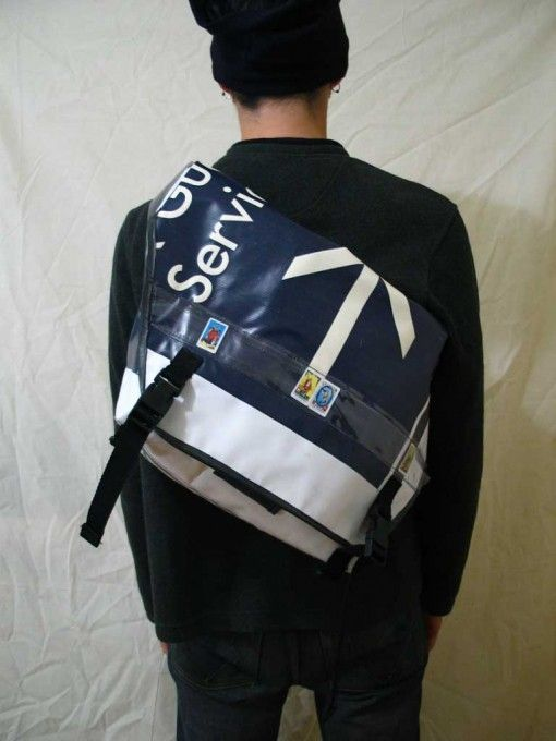 DIY Recycled Banner Messenger Bags. Billboard sign material is waterproof and can be made for under $5. Instructions a la Freitag bike messenger bags, EEIO Golden Mean messenger bag instructions.