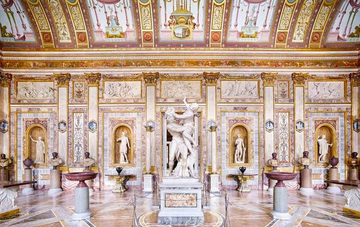 Borghese Gallery [Rome, Italy] - At the Borghese Gallery, the buildings itself is part of the exhibit. Built by the nephew of Pope Paul V in 1644, every wall and ceiling is adorned in magnificent art and sculptures.