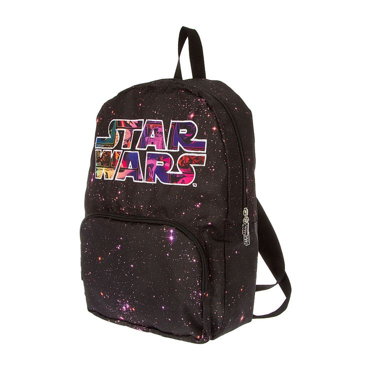 <P>This backpack is from a galaxy far far away! This Star Wars backpack features a starry galaxy print on a black background with a large Star Wars logo embroidered in white. </P><P><B>Backpack</B> by <B>Star Wars</B></P><UL><LI>Front zippered pocket <LI>Star Wars logo charm zipper charms <LI>Adjustable straps <LI>H: 45cm/18in </LI></UL>