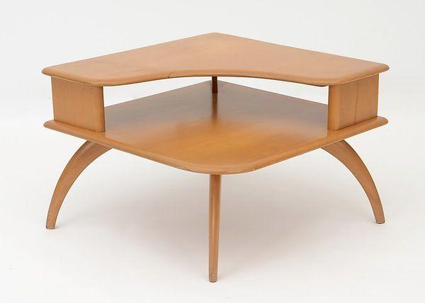 heywood wakefield mid century modern two tiered corner table