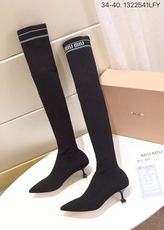 466c7c3123a Miumiu woman shoes over knee thigh high long sock boots with heels 5.5 8cm  2 styles black