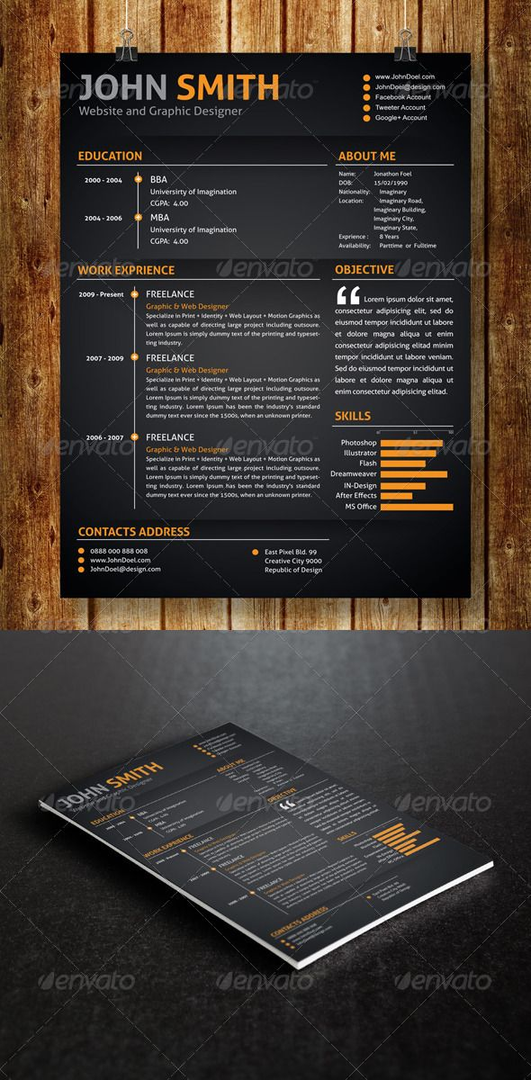 #Resume  - Resumes #Stationery Download here: https://graphicriver.net/item/resume-/7319280?ref=alena994