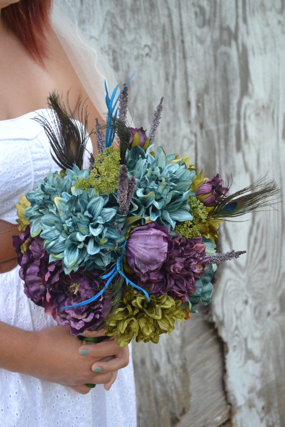 Wedding Bouquet Peacock Feather Teal Blue Olive Peonies Dahlias Green Purple Plum Eggplant Violet Garden Boutonniere Bridesmaid on Etsy, $100.86 CAD