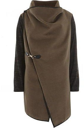 Womens khaki brown fever fish mocha knitted jacket from Dorothy Perkins - £45 at ClothingByColour.com