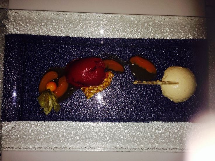 Dessert Nougat Mouse Pastel at Boullabaisse: Restaurant of Minos Beach Art Hotel