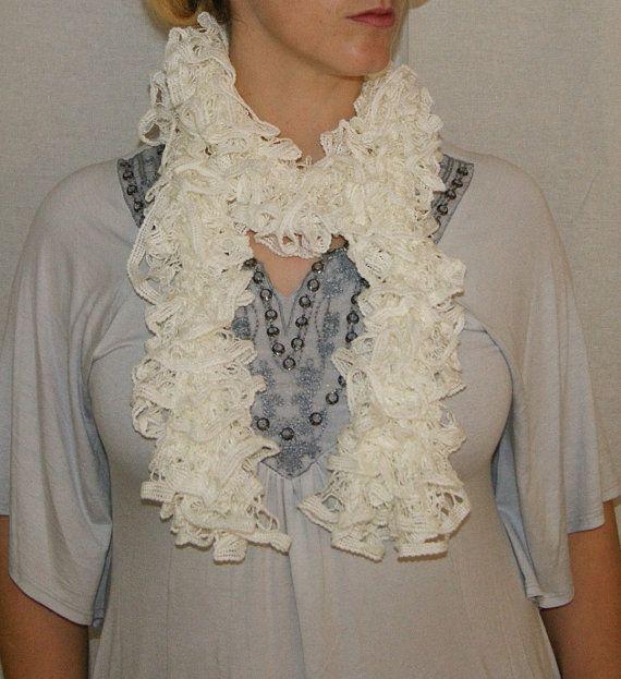 White Handmade Ruffle Fashion Scarf White Sashay by Madebyfate, $35.00