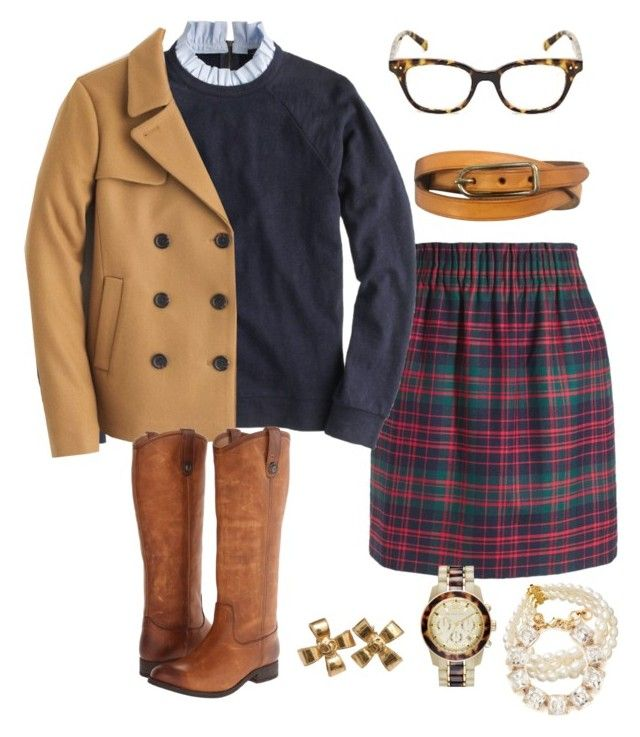 """""""Cold like Clockwork"""" by prepstepkate ❤ liked on Polyvore featuring J.Crew, Michael Kors, Hermès, Frye, Chanel and Kate Spade"""
