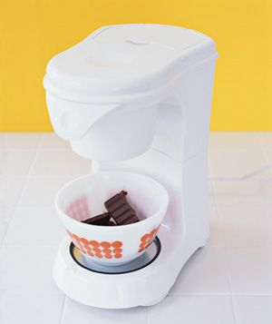 Coffee Maker as Chocolate Melter -   Soften chocolate for baking without having to drag out the double boiler. Instead, put the chocolate in an ovenproof bowl, set the bowl on the heating plate, and turn on the machine.