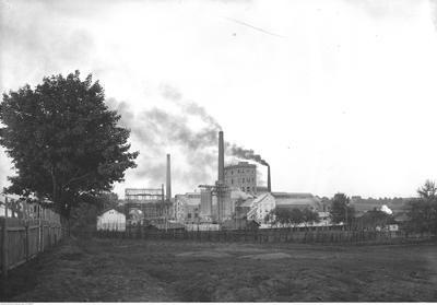 """Zakłady Sodowe """"Solvay"""" w Borku Fałęckim. Widok ogólny. Data wydarzenia:1937? Miejsce: Borek Fałęcki k. Krakowa"""