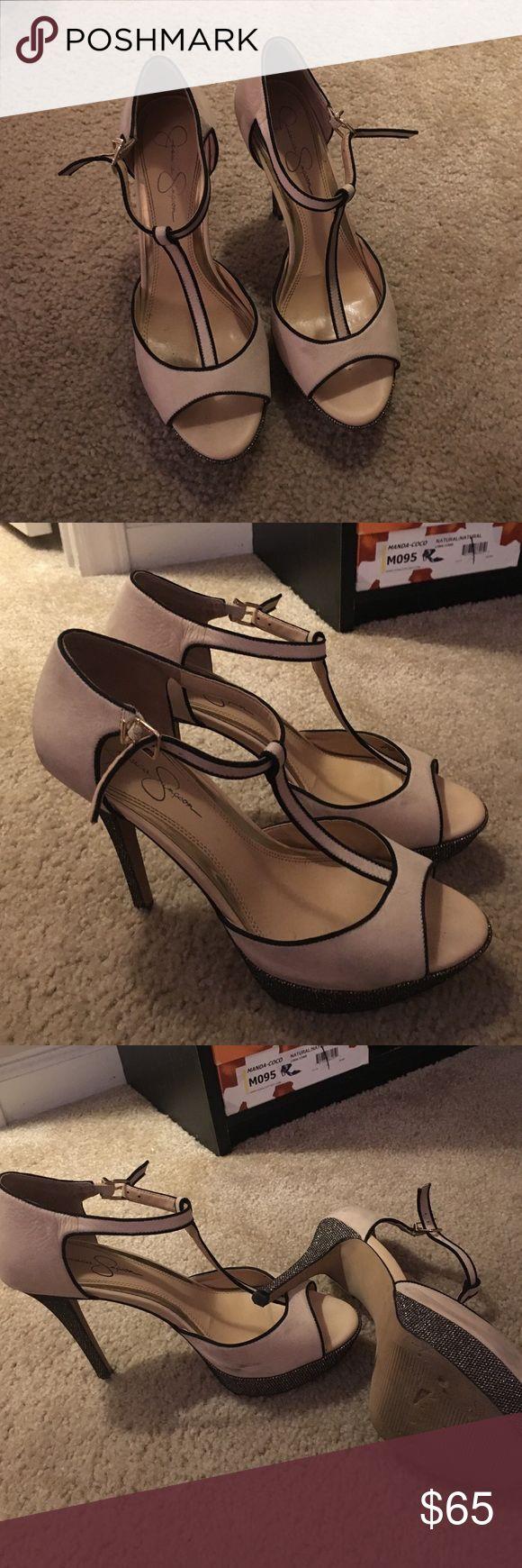 Jessica Simpson heels! Beautiful nude and black sparkly T-Strap heels! Jessica Simpson Shoes Heels
