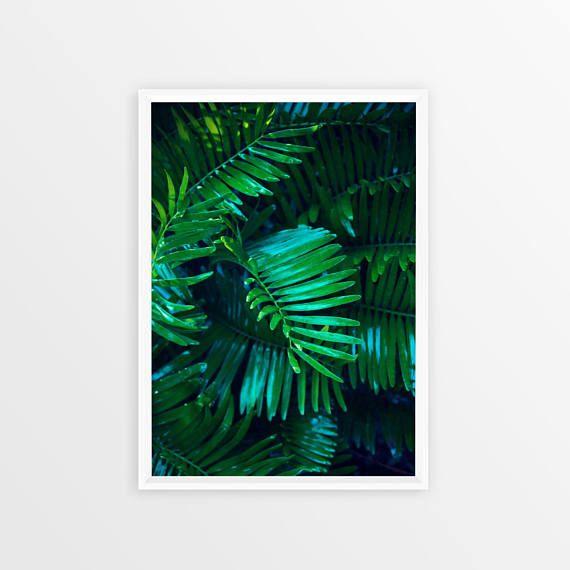 Green Plant Print Tropical Leaf Print Digital Art Green
