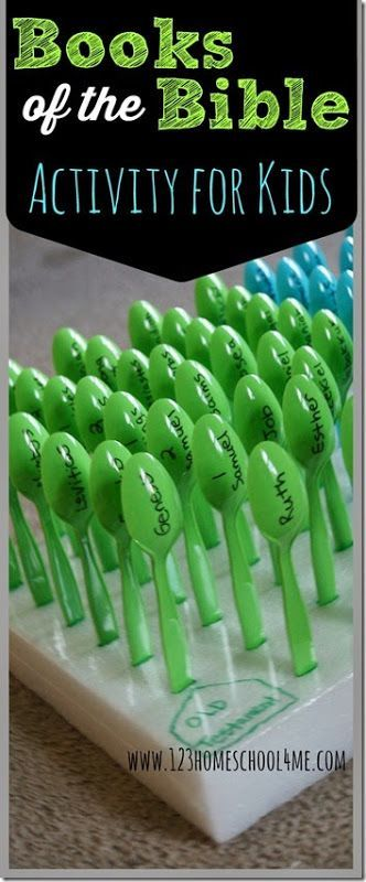 Books of the Bible Activity for Kids - Army of Spoons a simple, easy to make and play activity for Sunday School kids to learn the books of the Bible. This would also work really well for helping preschool and kindergarten age kids to learn the alphabet!
