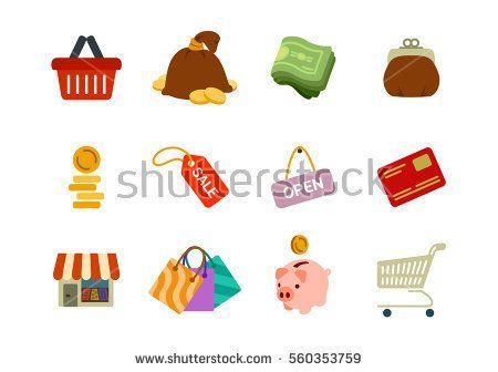 Vector business shopping icons set