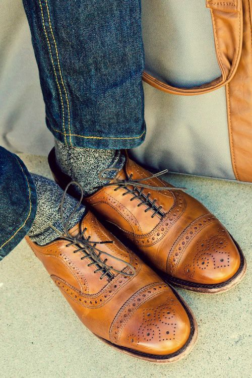 For fall: Levi's 511, grey marled wool socks, Allen Edmonds cap-toe oxfords with brogue detailing in a rich and warm walnut color.