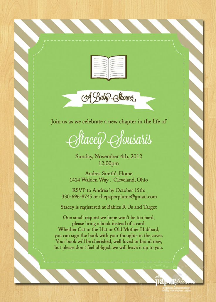 Book Collection Baby Shower Invitation Printable. $14.00, via Etsy.