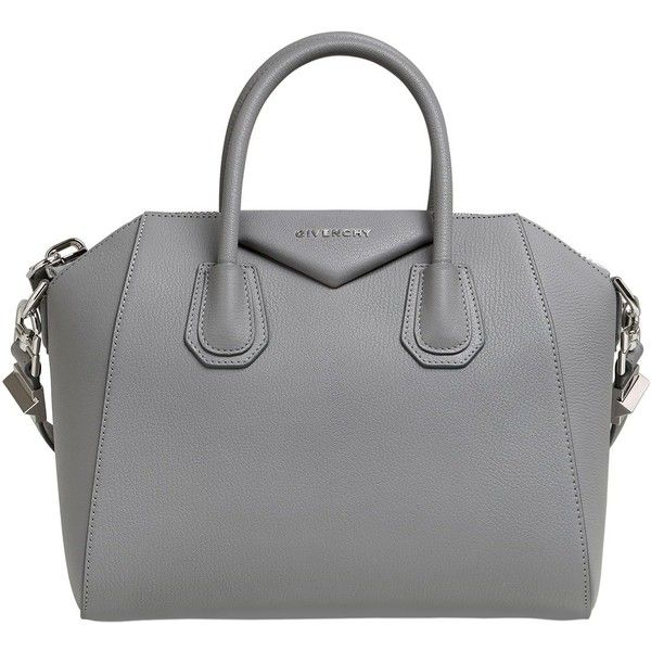 Givenchy Women Small Antigona Grained Leather Bag (34.820.415 IDR) ❤ liked on Polyvore featuring bags, handbags, grey, triangle bag, full grain leather purse, grey bag, grey handbags and gray handbags