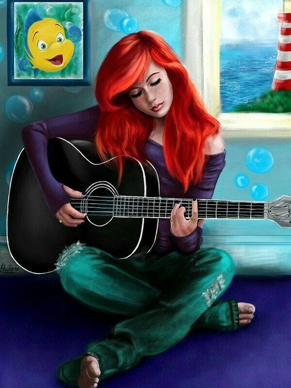 Oh My Ariel Playing Guitar Disney Princess