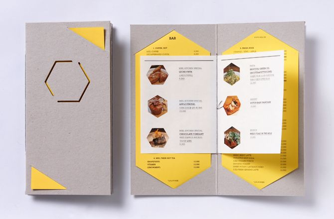 menu for cafe Miel designed by studio fnt, Korea