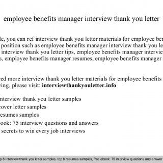 employee benefits manager interview thank you letter In this file, you can ref interview thank you letter materials for employee benefits manager position s. http://slidehot.com/resources/employee-benefits-manager.41850/
