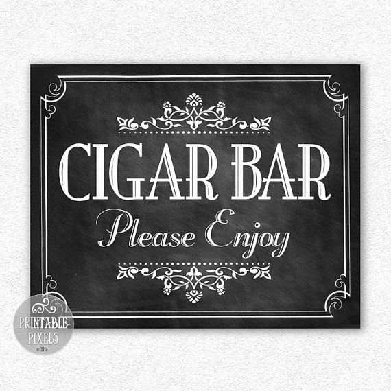 Cigar Bar 8x10 Chalkboard Wedding Sign Retro by PrintablePixels, $4.00