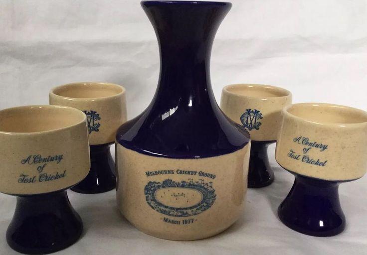 Rare Vintage MCG Centenary Of Test Cricket 1877-1977 Carafe + 4 Goblets Elischer