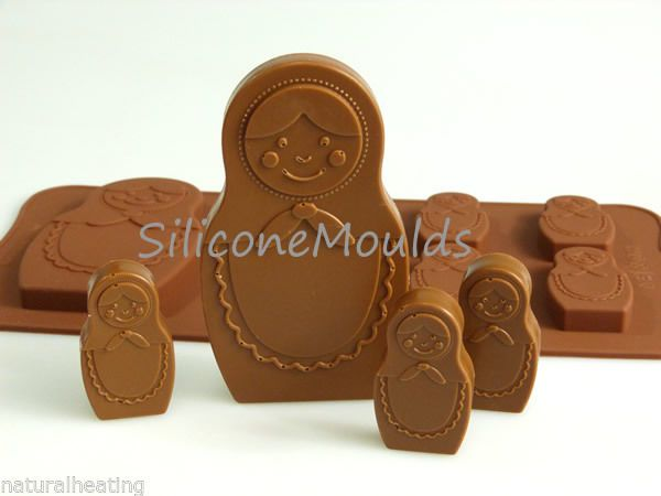 6+1 RUSSIAN DOLL MATRYOSHKA Chocolate Silicone Bakeware Mould Candy Cake Mold